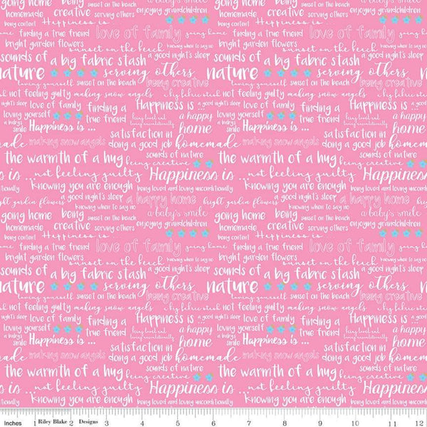 Riley Blake - Simply Happy - Text Pink