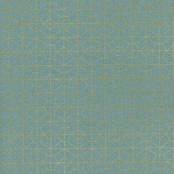 Cotton + Steel -  Akoma - Geo Grid Sky Metallic