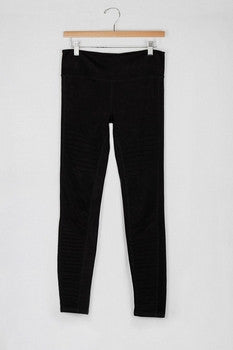 Faux Suede Moto Leggings - Black