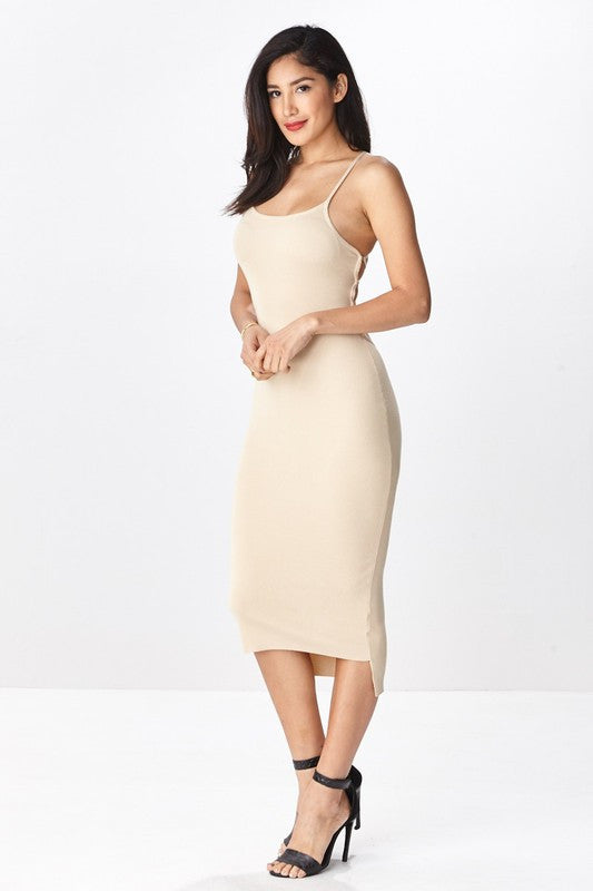 Backless Lace-Up Midi Dress - Nude