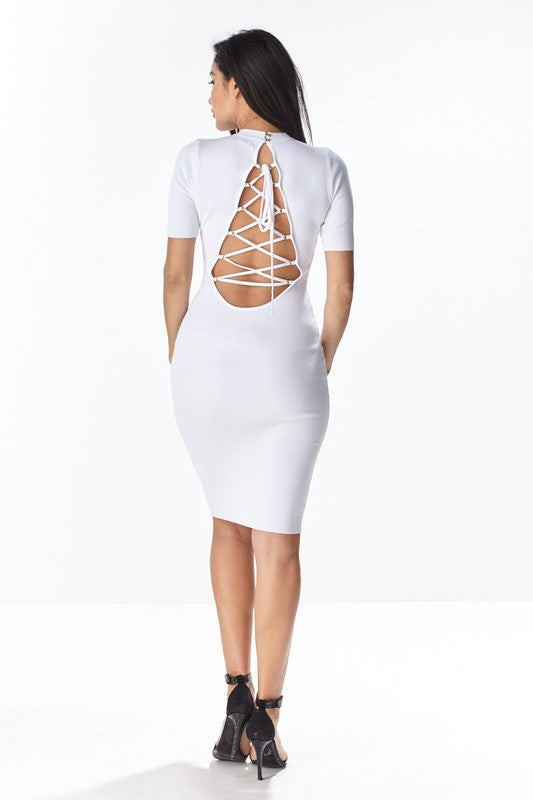 Short Sleeve Lace-Up Back Dress - White