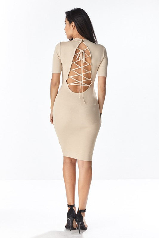 Short Sleeve Lace-Up Back Dress - Nude