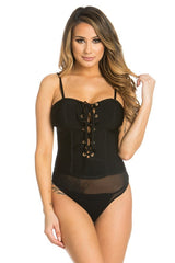 Lace-Up Bandage Bodysuit - Black