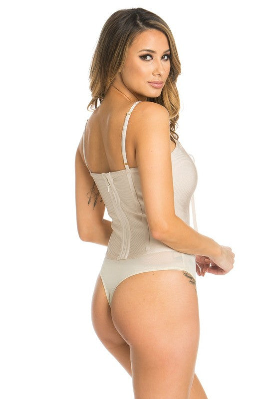 Lace-Up Bandage Bodysuit - Nude