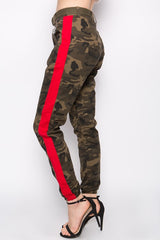 Camo Joggers with Red Stripe