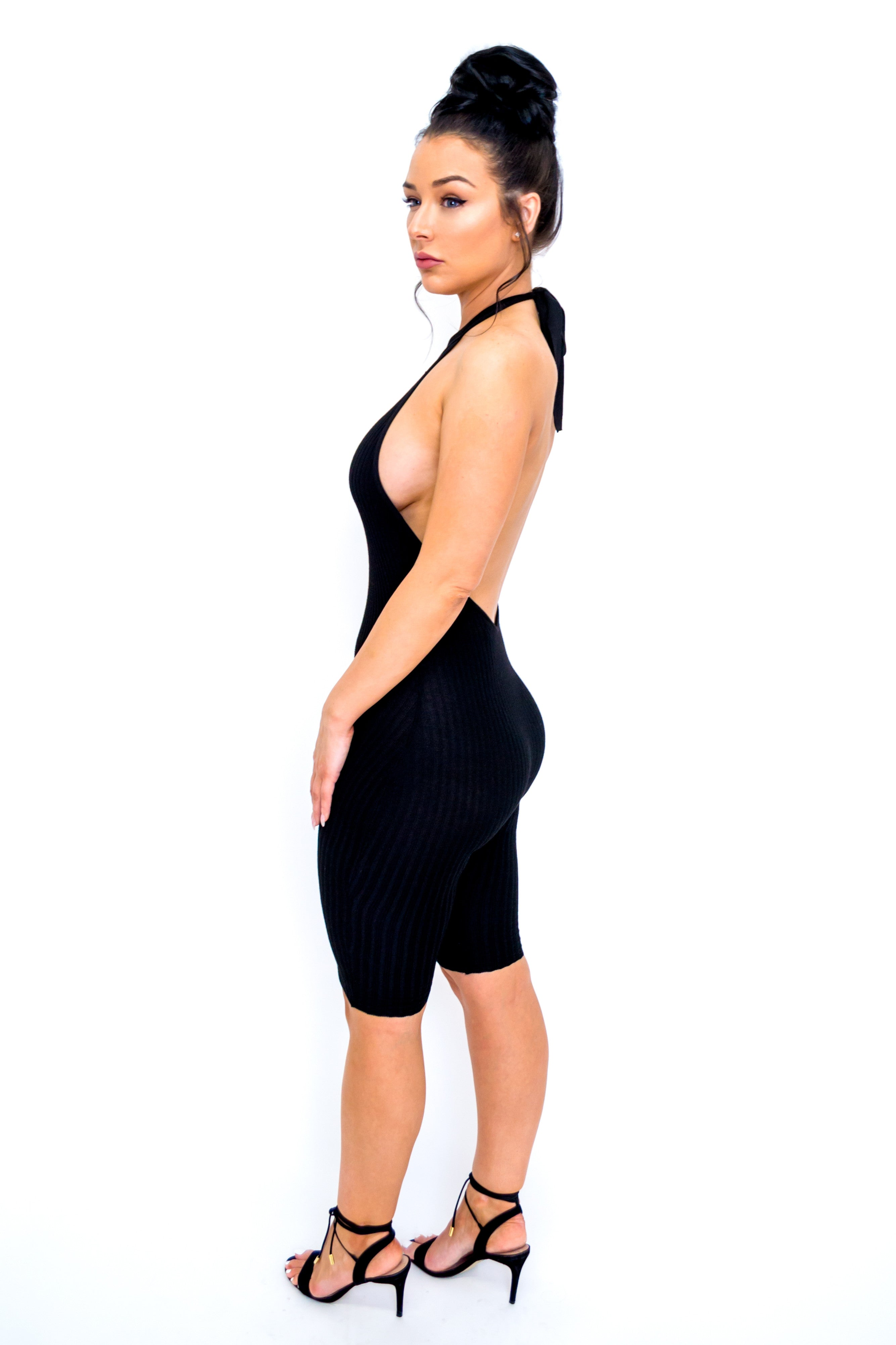 Backless Halter Jumpsuit - Black