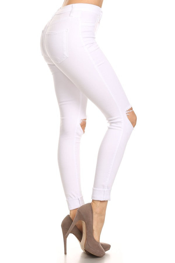 White Ripped Knee Jeans