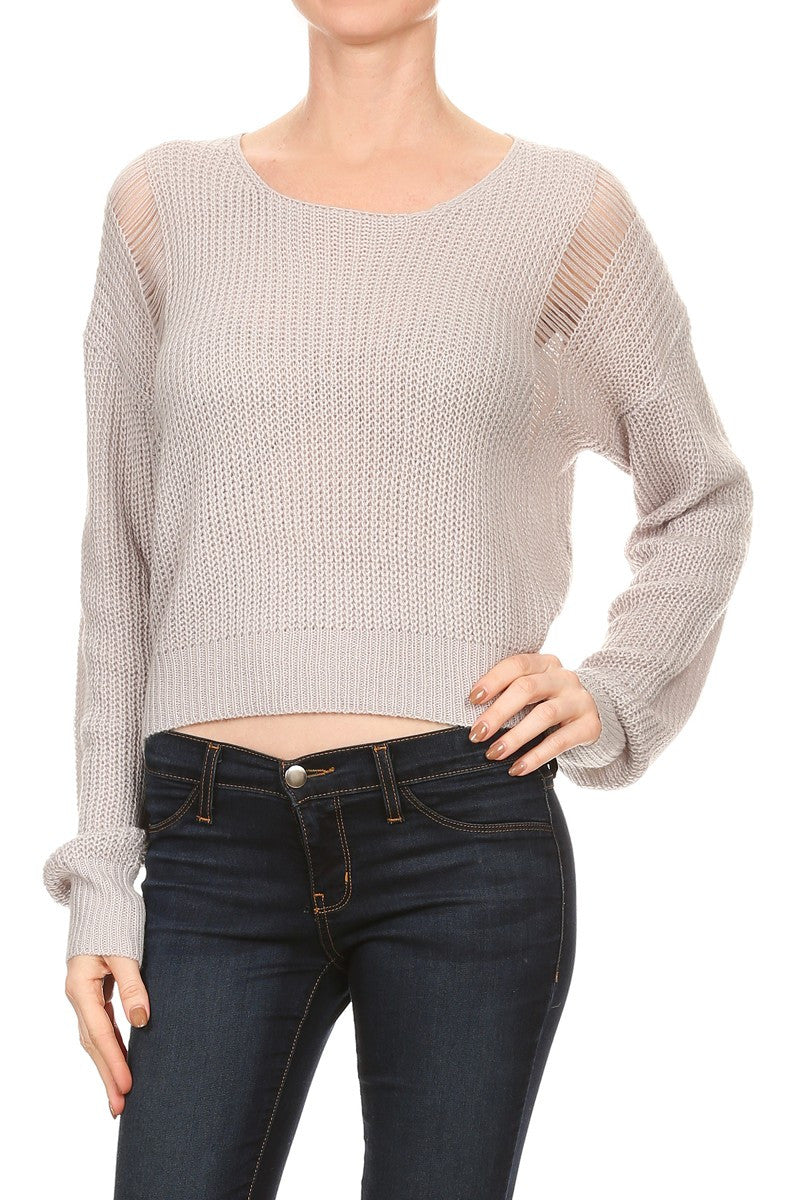 Frayed Back Crop Sweater - Gray
