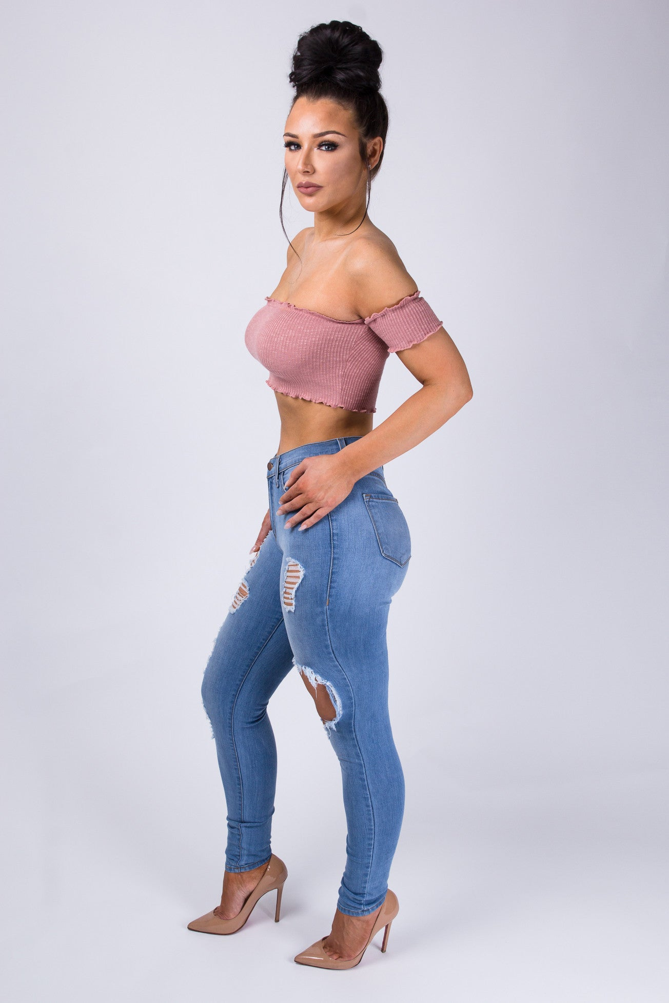 Bardot Crop Top - Mauve
