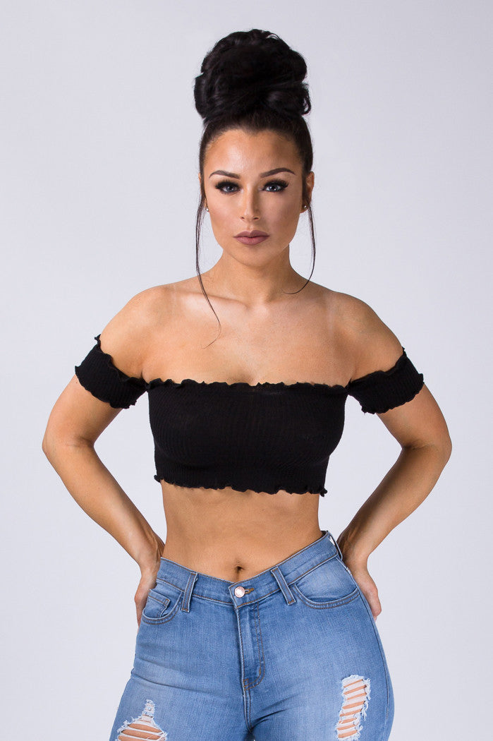 Bardot Crop Top - Black