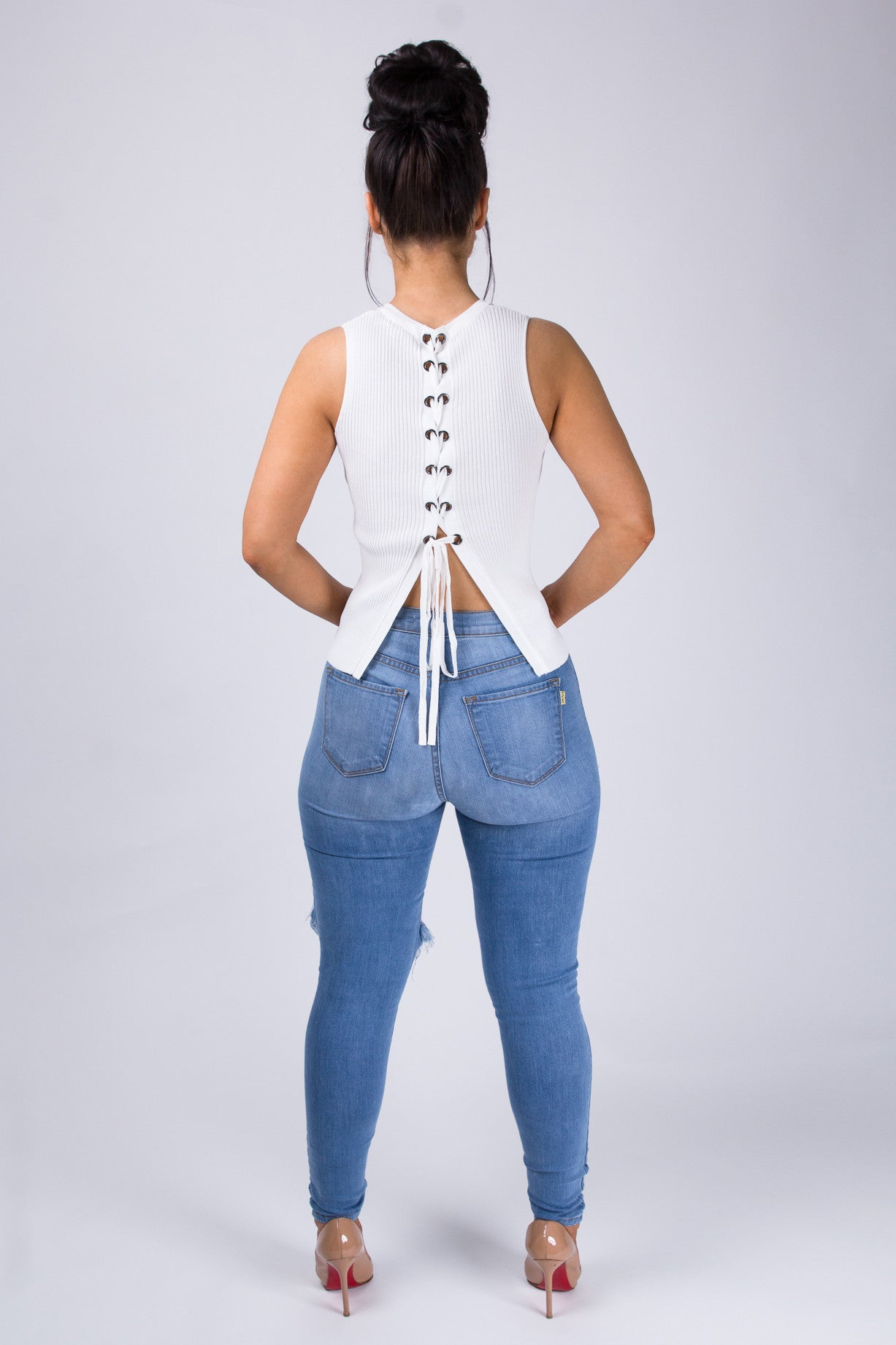 Ribbed Lace-Up Back Top - White