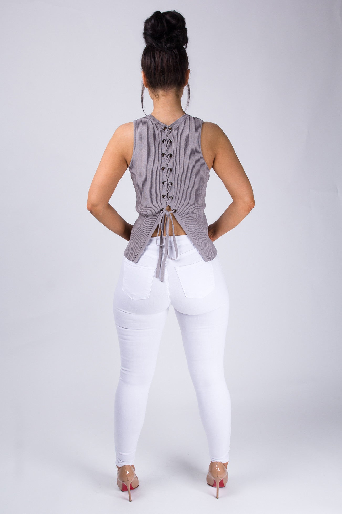 Ribbed Lace-Up Back Top - Gray