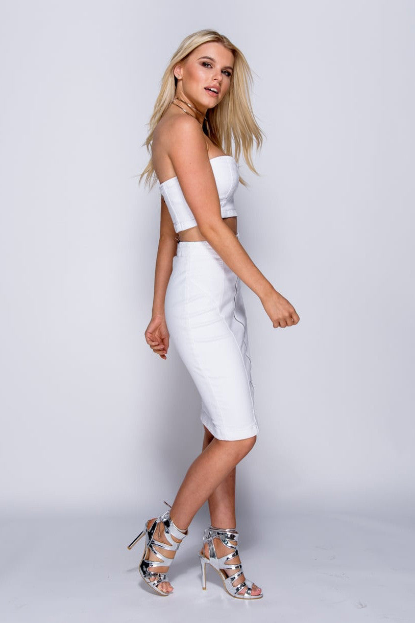 Denim Skirt Set - White