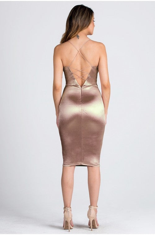 Deep V Satin Dress - Gold
