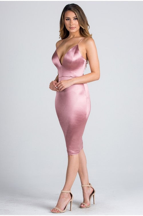 Deep V Satin Dress - Pink