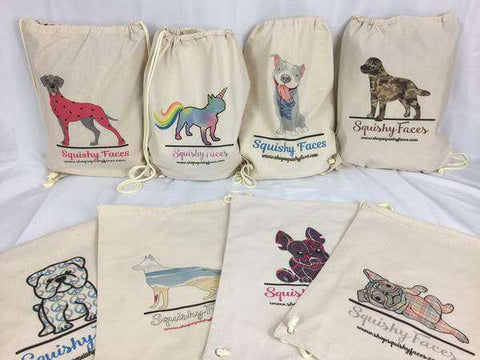 All Dog Breed Natural Canvas Draw String Bags Squishy Faces