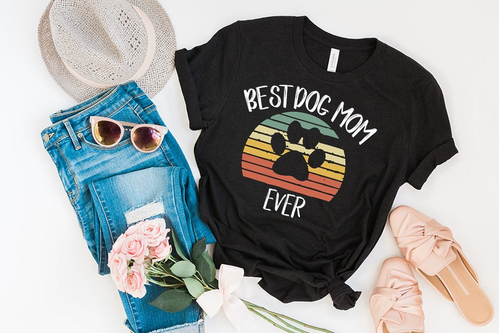 """Best Dog Mom Ever"" Pupper Lover T-Shirt"
