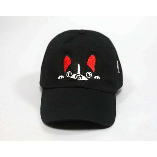 Black French Bulldog Lover Hat With Red Accents