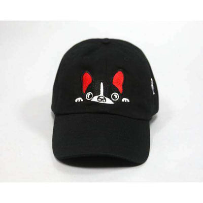 Black French Bulldog Hat Red Accents Squishy Faces