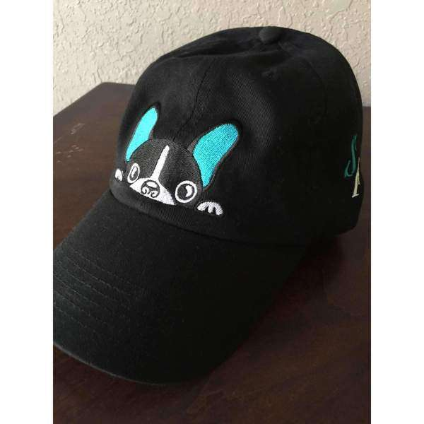 Black French Bulldog Hat with Teal Accents