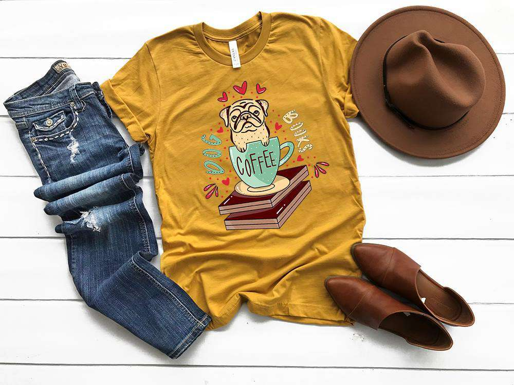 """Dog Books Coffee"" Dog Lover T-Shirt"