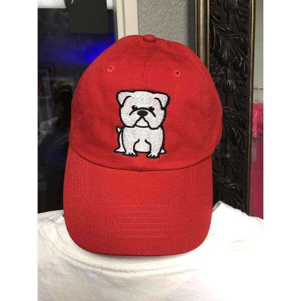 English Bulldog Hat Red with white stitching