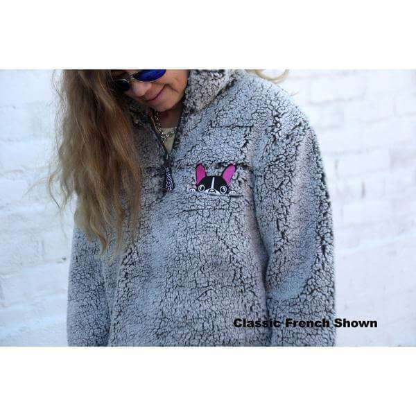 bb9d39f5f91 Embroidered Sherpa Pullover 1/4 Zip pink pug bulldog frenchie