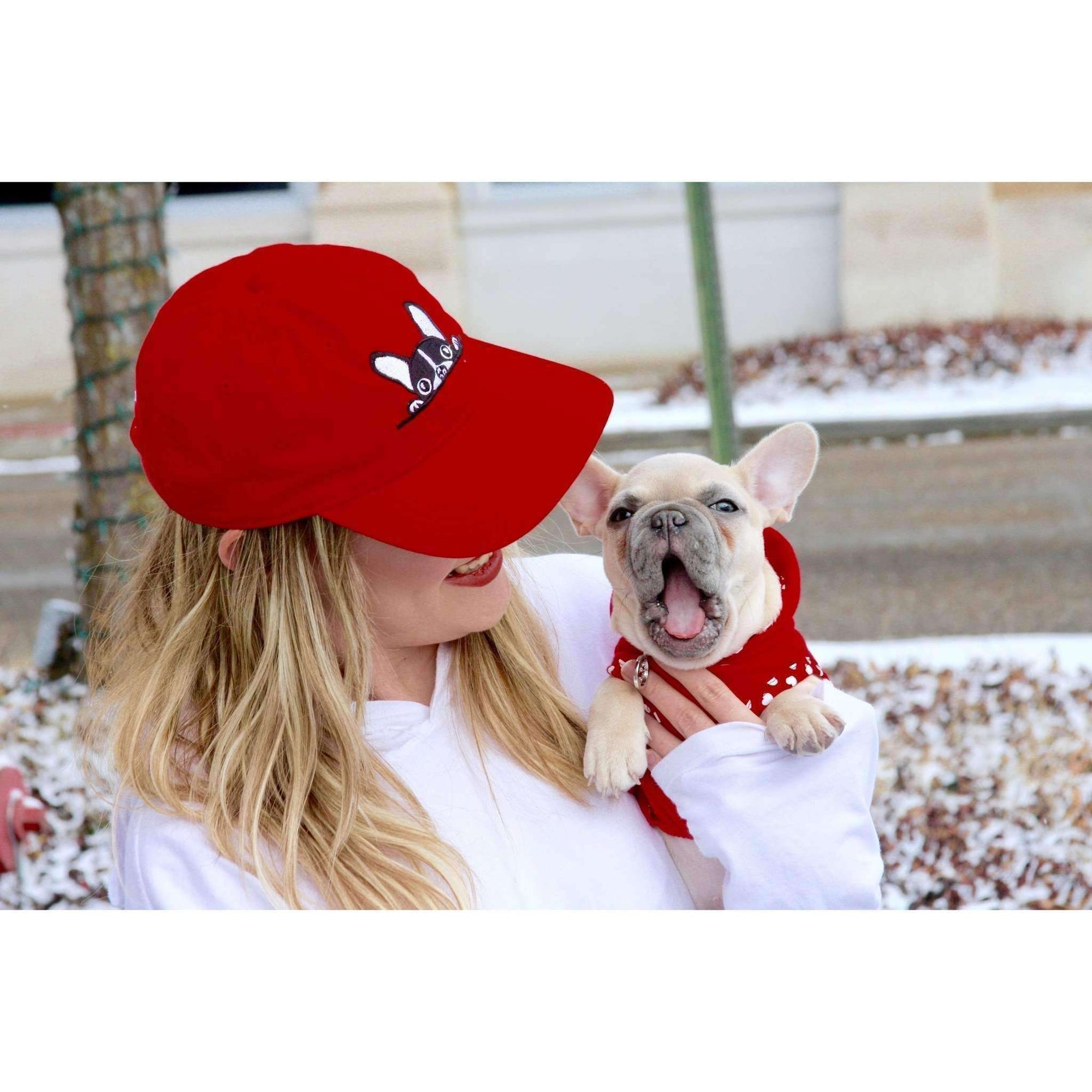 Red French Bulldog Hat with White and Black  Embroidered Accent - Squishy Faces