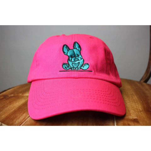 Neon Pink Baseball Cap New French Bulldog Teal
