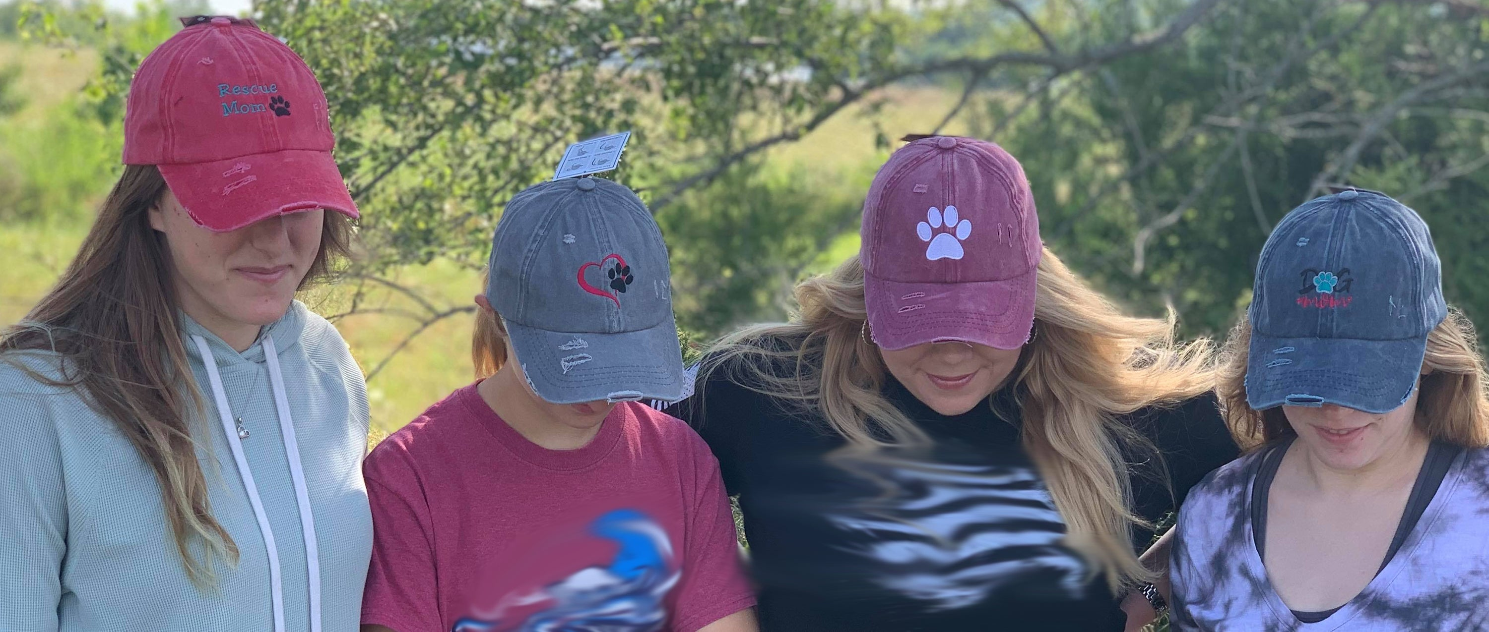 Distressed Ladder Back Pony Hats Rescue Mom, Paw Prints Love pets