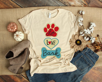 live love bark written on a shirt