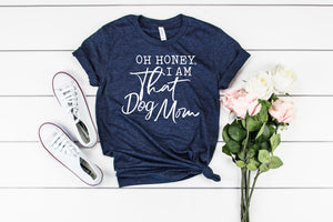 "Bella tee in Navy Heather with the words ""Oh honey, I am that cat mom"" in stylized white text."