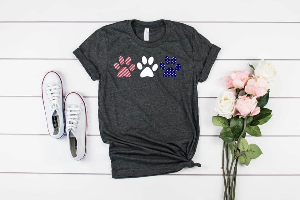 Red White and Blue Dogs Paws Shirt