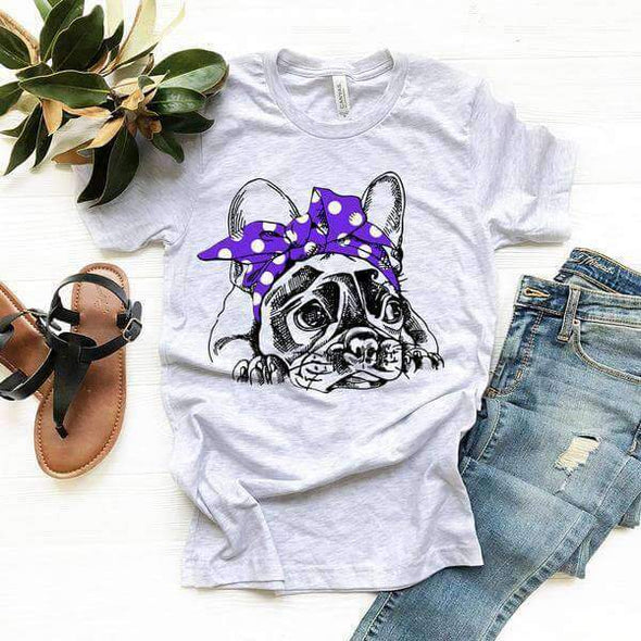 Rockabilly  Purple Bow French Bulldog Tee