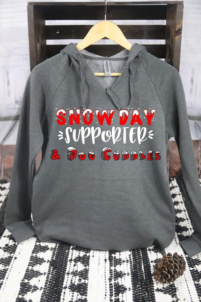 Snow Day Supporter And Dog Cuddles Hoodie