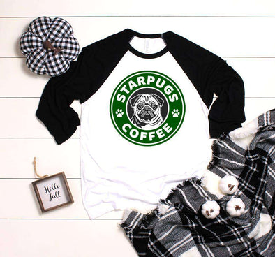 Whate body with black sleeve baseball raglan with green starbucks similar design. Pug in the middle of the design and wording that reads Starpugs Coffee in white outlined in black.  Also available on plain white tee shirt.