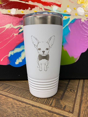 Image of an insulated tumbler in White with metal rim, clear plastic lid, featuring a sweet Chihuahua sporting a bow tie laser etched in the side of the cup.
