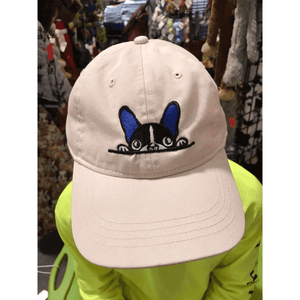 Putty French Bulldog Hat with Blue Embroidered Accent