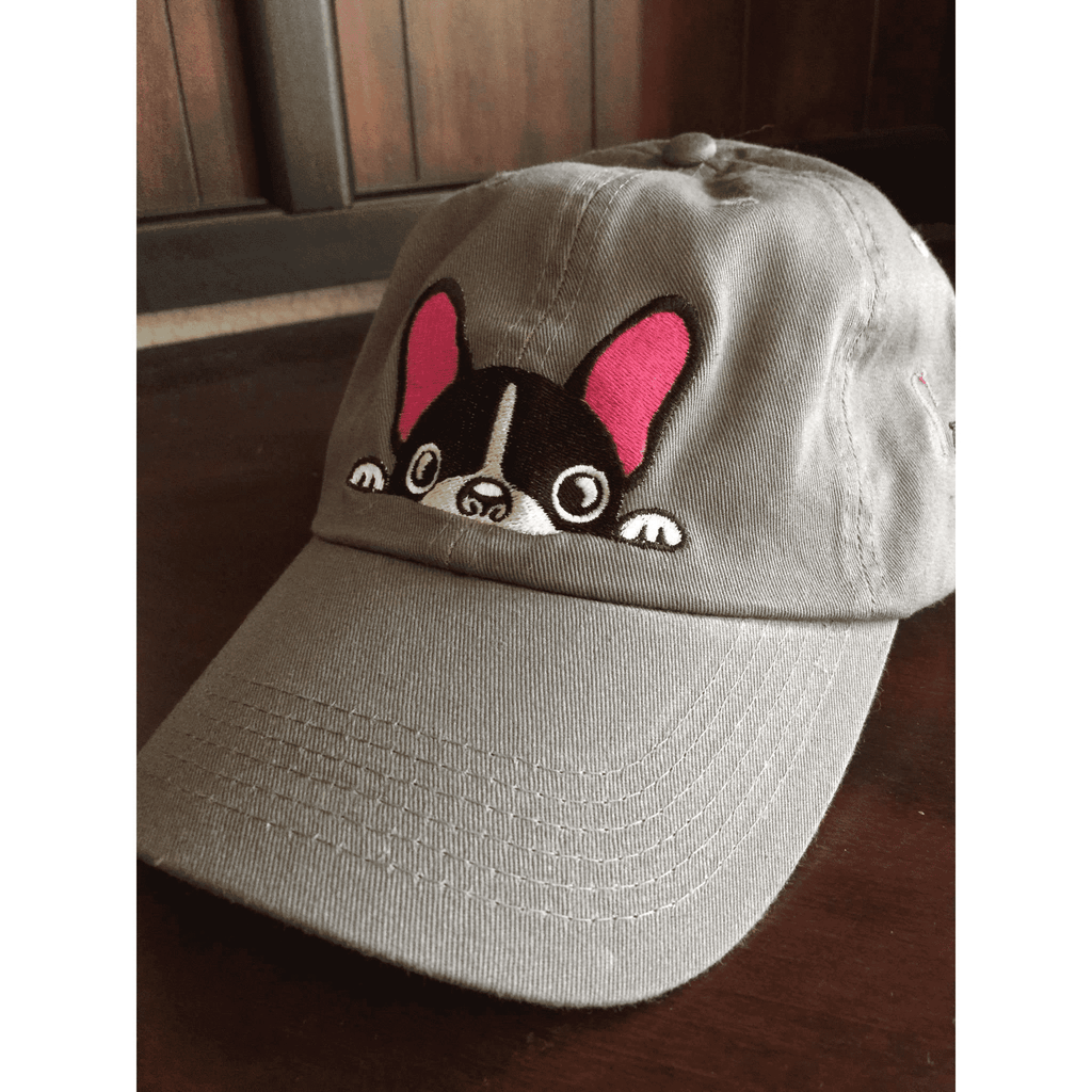 Gray French Bulldog Hat with Pink Embroidered Accent