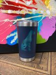 "Image of an insulated tumbler in Royal with metal rim, clear plastic lid, featuring a sweet Great Dane silhouette filled with flowers and the words ""Squishy Faces"" laser etched in the side of the cup."