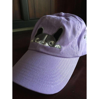 Purple French Bulldog Hat with Black Embroidered Accent - Squishy Faces