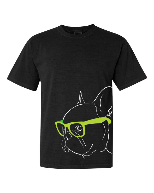 French Bulldog - looks super smart in his adorable Green Glasses - Tee