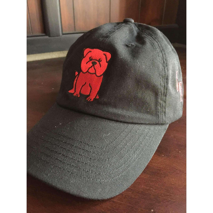 Black English Bulldog Hat with Red