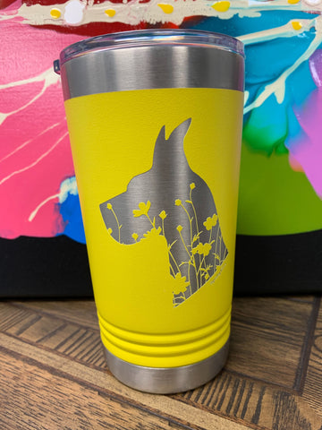Image of an insulated tumbler in Yellow with metal rim, clear plastic lid, and a Great Dane head silhouette filled with flowers laser etched in the side of the cup.