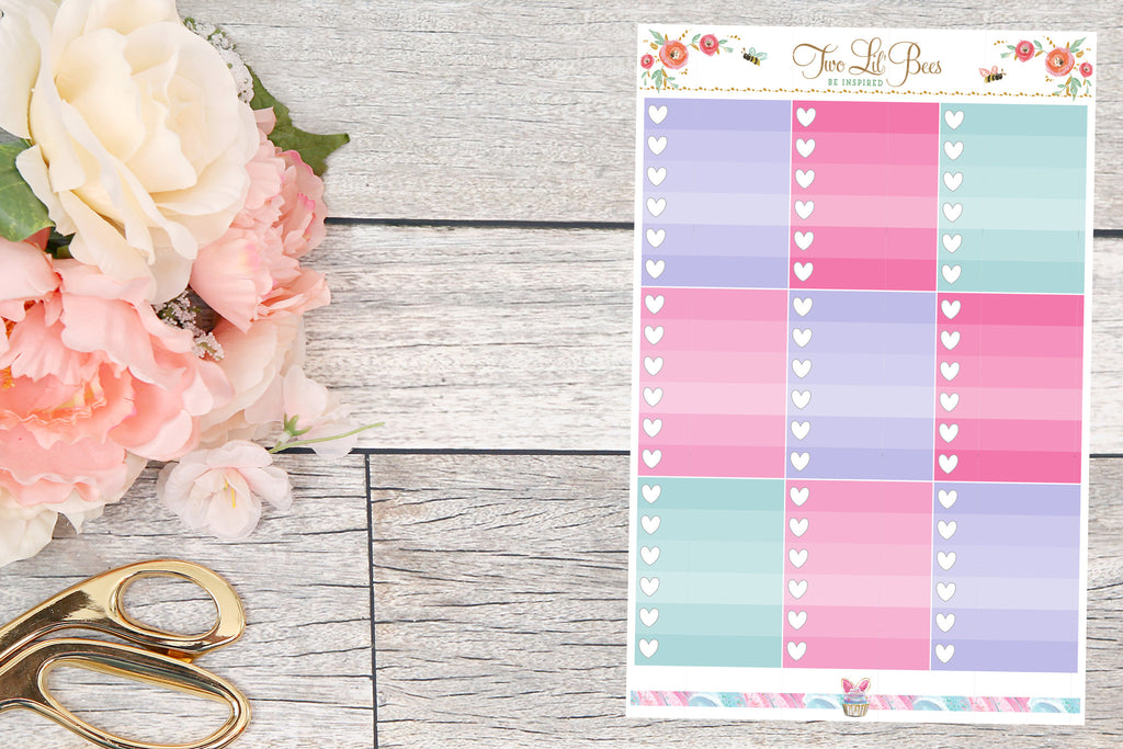Cotton Candy - Heart Checklist Boxes (Vertical)