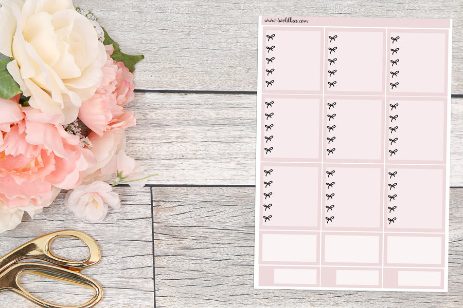 B6 ~ Bow Checklist Boxes (Dusty Rose)