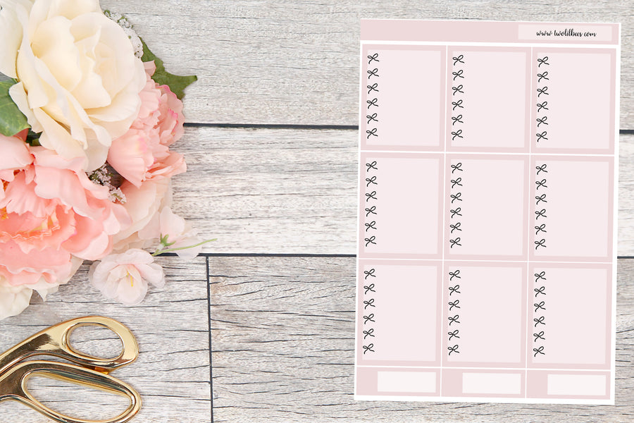 EC Vertical ~ Bow Checklist Boxes (Dusty Rose)