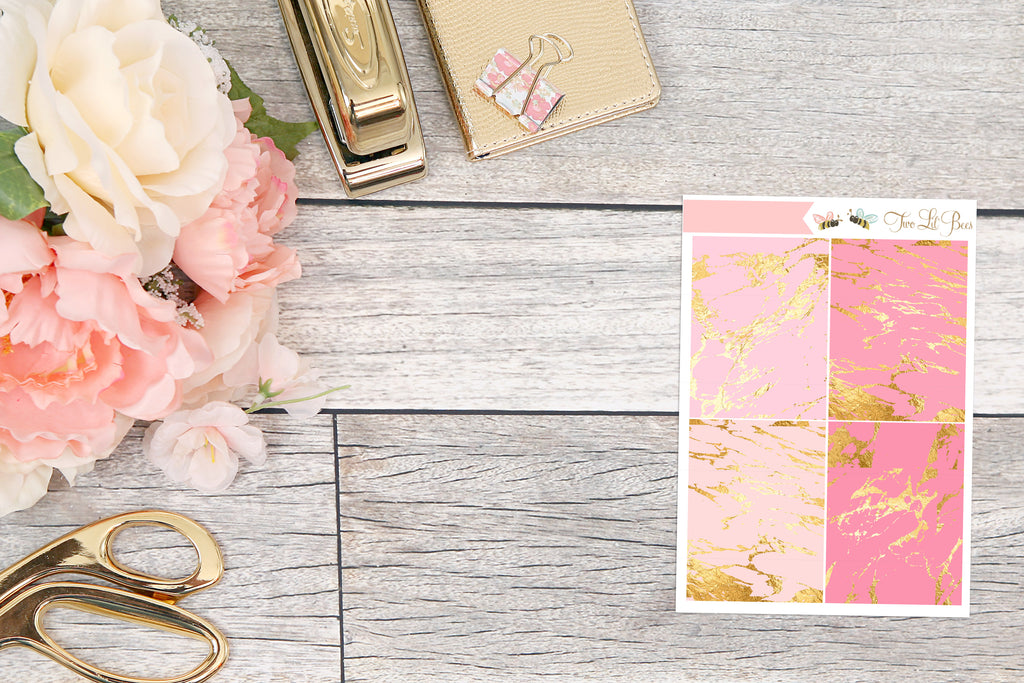 Mini sheets - Marble Headers - Pink