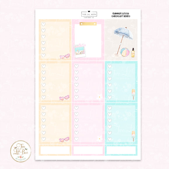Summer Loving - Heart Checklist Boxes