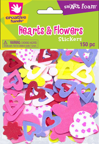 Multicolored Hearts and Flowers Stickers